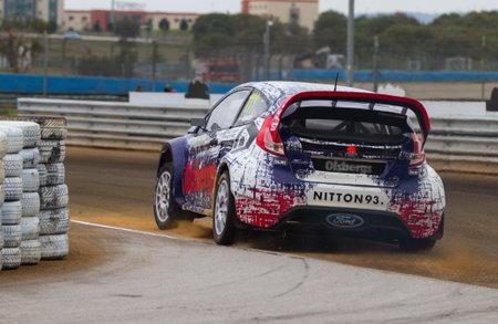 fia: ISTANBUL, TURKEY - OCTOBER 12, 2014: Richard Goransson drives Ford Fiesta ST of Olsbergs Team in FIA World Rallycross Championship.