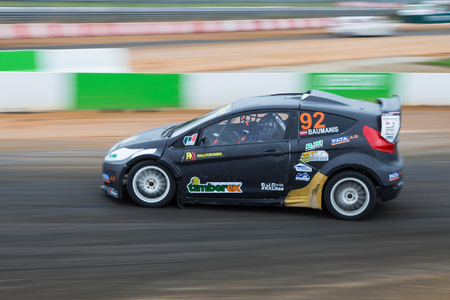 fia: ISTANBUL, TURKEY - OCTOBER 12, 2014: Janis Baumanis drives RX Lites of Set Promotion Team in FIA World Rallycross Championship.