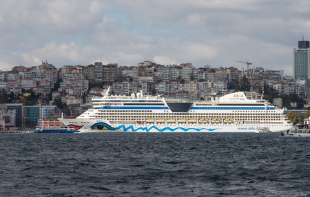 tonnage: ISTANBUL, TURKEY - SEPTEMBER 19, 2014: Aidadiva Cruise Ship in Istanbul Port. Ship has 1,896 passenger capacity with 68,500 Gross tonnage. Editorial