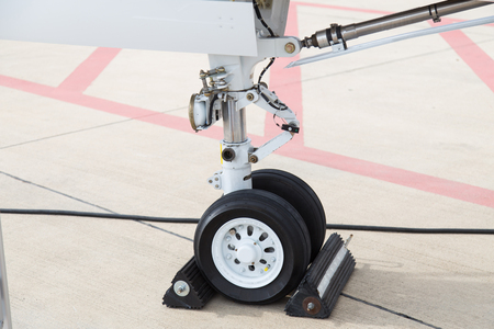 Landing Gear of a Jet Airplane in Ground
