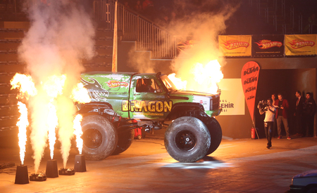ISTANBUL, TURKEY - FEBRUARY 01, 2015: Monster Truck Dragon in Sinan Erdem Dome during Monster Hot Wheels stunt show. Editorial