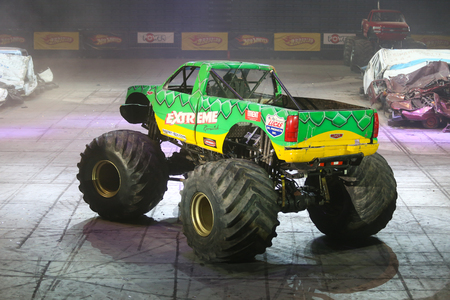 ISTANBUL, TURKEY - FEBRUARY 01, 2015: Monster Truck Extreme Revisited in Sinan Erdem Dome during Monster Hot Wheels stunt show.