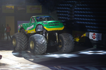 monster truck: ISTANBUL, TURKEY - FEBRUARY 01, 2015: Monster Truck Extreme Revisited in Sinan Erdem Dome during Monster Hot Wheels stunt show.