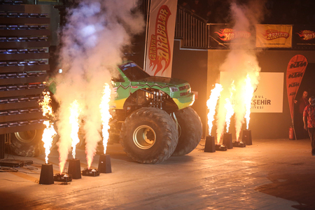 monster truck: ISTANBUL, TURKEY - JANUARY 31, 2015: Monster Truck Extreme Revisited in Sinan Erdem Dome during Monster Hot Wheels stunt show.