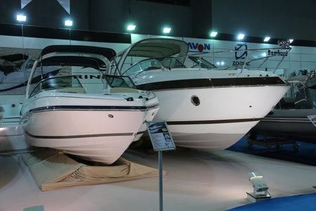 motor boats: ISTANBUL, TURKEY - FEBRUARY 14, 2015: Rinker motor boats in 8. CNR Eurasia Boat Show, CNR Expo