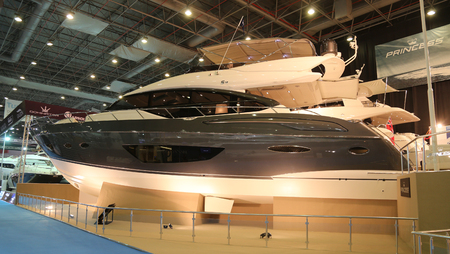 eurasia: ISTANBUL, TURKEY - FEBRUARY 14, 2015: Princess S72 motoryacht in 8. CNR Eurasia Boat Show, CNR Expo Editorial