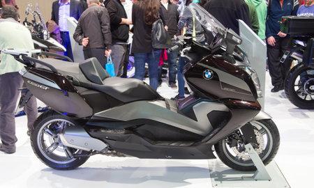 expo: ISTANBUL, TURKEY - FEBRUARY 28, 2015: BMW C650 GT in Eurasia Moto Bike Expo in Istanbul Expo Center