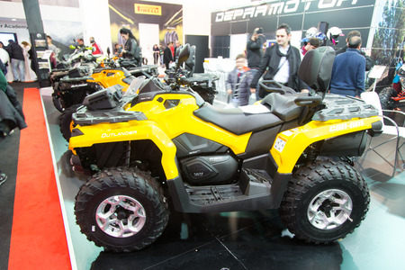 outlander: ISTANBUL, TURKEY - FEBRUARY 28, 2015: Can am Outlander in Eurasia Moto Bike Expo in Istanbul Expo Center