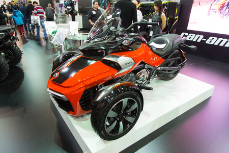 eurasia: ISTANBUL, TURKEY - FEBRUARY 28, 2015: Can am Spyder in Eurasia Moto Bike Expo in Istanbul Expo Center Editorial