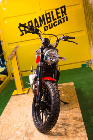 scrambler: ISTANBUL, TURKEY - FEBRUARY 28, 2015: Ducati Scrambler in Eurasia Moto Bike Expo in Istanbul Expo Center Editorial