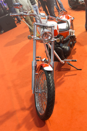 harley davidson motorcycle: ISTANBUL, TURKEY - FEBRUARY 28, 2015: A Harley Davidson motorcycle in Eurasia Moto Bike Expo in Istanbul Expo Center