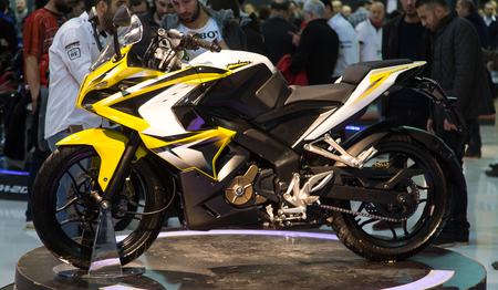 pulsar: ISTANBUL, TURKEY - FEBRUARY 28, 2015: Bajaj Pulsar 200 SS in Eurasia Moto Bike Expo in Istanbul Expo Center