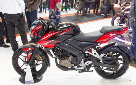 bajaj: ISTANBUL, TURKEY - FEBRUARY 28, 2015: Bajaj Pulsar 200 NS in Eurasia Moto Bike Expo in Istanbul Expo Center Editorial