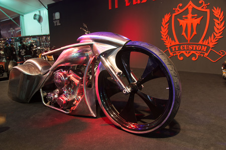ISTANBUL, TURKEY - FEBRUARY 28, 2015: TT Custom Choppers motorcycle in Eurasia Moto Bike Expo in Istanbul Expo Center