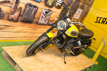 scrambler: ISTANBUL, TURKEY - MARCH 01, 2015: Ducati Scrambler in Eurasia Moto Bike Expo in Istanbul Expo Center Editorial