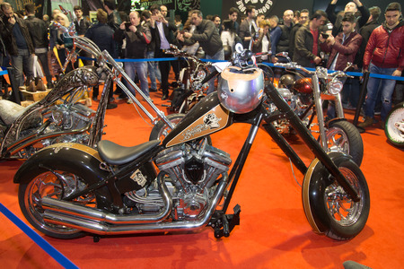 eurasia: ISTANBUL, TURKEY - MARCH 01, 2015: TT Custom Choppers motorcycle in Eurasia Moto Bike Expo in Istanbul Expo Center