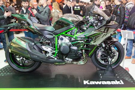 ISTANBUL, TURKEY - MARCH 01, 2015: Kawasaki Ninja H2 in Eurasia Moto Bike Expo in Istanbul Expo Center Editorial