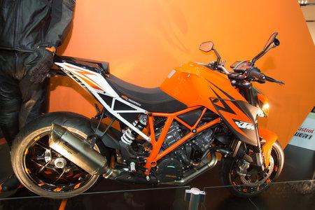 expo: ISTANBUL, TURKEY - MARCH 01, 2015: KTM Superduke in Eurasia Moto Bike Expo in Istanbul Expo Center
