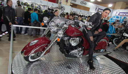 expo: ISTANBUL, TURKEY - MARCH 01, 2015: An Indian motorbike in Eurasia Moto Bike Expo in Istanbul Expo Center Editorial