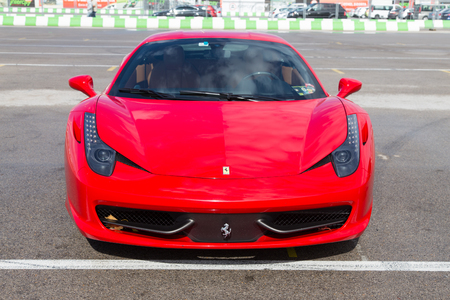 ferrari: ISTANBUL, TURKEY - OCTOBER 25, 2014: A ferrari in paddock area during Ferrari Racing Days in Istanbul Park Racing Circuit