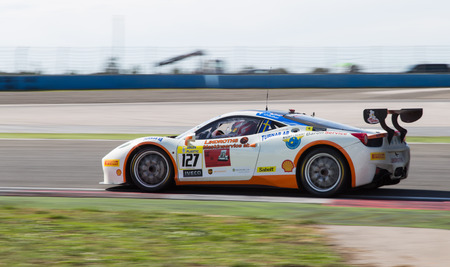 tommy: ISTANBUL, TURKEY - OCTOBER 25, 2014: Tommy Lindroth drives Ferrari 458 Challenge EVO of Baron Service Racing Team during Ferrari Racing Days in Istanbul Park Racing Circuit Editorial