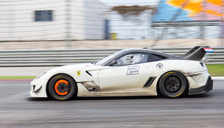 ISTANBUL, TURKEY - OCTOBER 25, 2014: Ferrari 599XX during XX Programmes of Ferrari Racing Days in Istanbul Park Racing Circuit