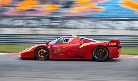 ISTANBUL, TURKEY - OCTOBER 25, 2014: Ferrari FXX during XX Programmes of Ferrari Racing Days in Istanbul Park Racing Circuit