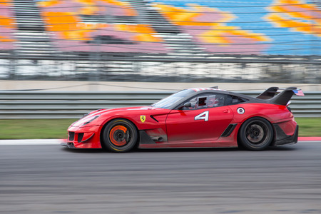ferrari: ISTANBUL, TURKEY - OCTOBER 25, 2014: Ferrari 599XX during XX Programmes of Ferrari Racing Days in Istanbul Park Racing Circuit