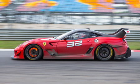 programmes: ISTANBUL, TURKEY - OCTOBER 25, 2014: Ferrari 599XX during XX Programmes of Ferrari Racing Days in Istanbul Park Racing Circuit