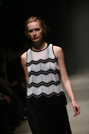 fashion week: ISTANBUL, TURKEY - MARCH 21, 2015: A model showcases one of the latest creations by Missoni in Mercedes-Benz Fashion Week Istanbul Editorial