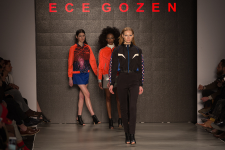 the latest models: ISTANBUL, TURKEY - MARCH 16, 2015: Models showcase latest creations by Ece Gozen in Mercedes-Benz Fashion Week Istanbul