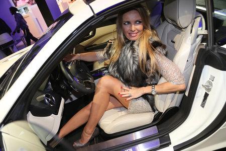 fashion week: ISTANBUL, TURKEY - MARCH 18, 2015: A girl posing in Lounge of Mercedes-Benz Fashion Week Istanbul Editorial