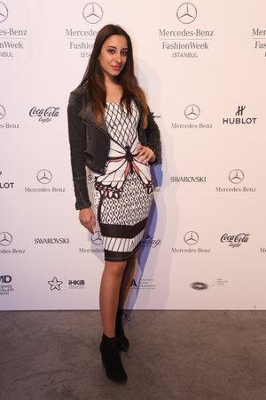 fashion week: ISTANBUL, TURKEY - MARCH 19, 2015: A girl posing in Lounge of Mercedes-Benz Fashion Week Istanbul