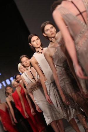 fashion week: ISTANBUL, TURKEY - MARCH 19, 2015: Models showcase the latest creations by Zeynep Tosun in Mercedes-Benz Fashion Week Istanbul
