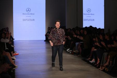 fashion week: ISTANBUL, TURKEY - MARCH 20, 2015: Designer David Catalan after his runway in Mercedes-Benz Fashion Week Istanbul