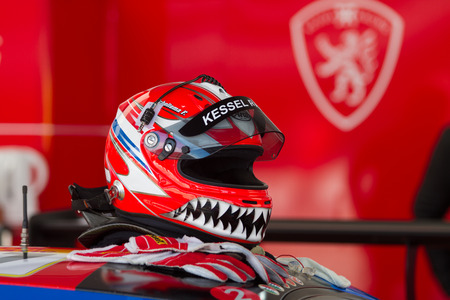 ISTANBUL, TURKEY - OCTOBER 25, 2014: A helmet in Ferrari Racing Days in Istanbul Park Racing Circuit