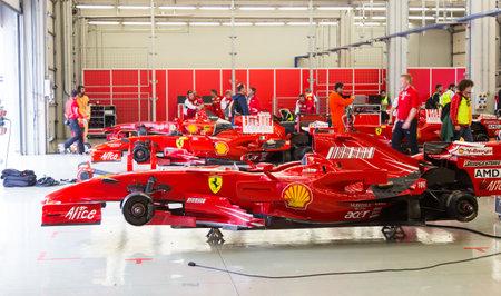 f1: ISTANBUL, TURKEY - OCTOBER 26, 2014: F1 Car in garage of Ferrari Racing Days in Istanbul Park Racing Circuit