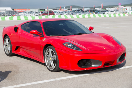 ISTANBUL, TURKEY - OCTOBER 26, 2014: A Ferrari in paddock area of Ferrari Racing Days in Istanbul Park Racing Circuit