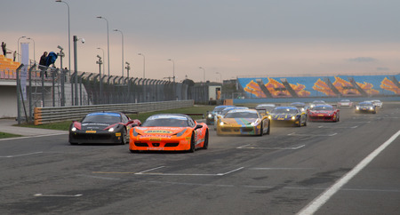 ISTANBUL, TURKEY - OCTOBER 26, 2014: Ferrari 458 Challenge during Ferrari Racing Days in Istanbul Park Racing Circuit