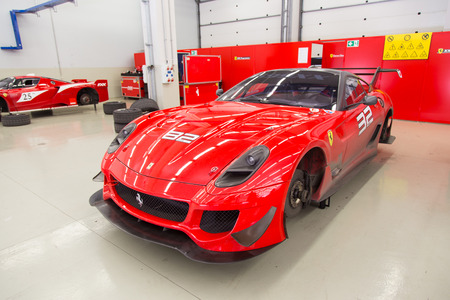 programmes: ISTANBUL, TURKEY - OCTOBER 25, 2014: Ferrari 599XX car in XX Programmes garage of Ferrari Racing Days in Istanbul Park Racing Circuit