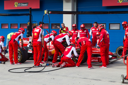 ISTANBUL, TURKEY - OCTOBER 26, 2014: Pit stop of Formula 1 car in Ferrari Racing Days in Istanbul Park Racing Circuit Stock Photo - 38803534