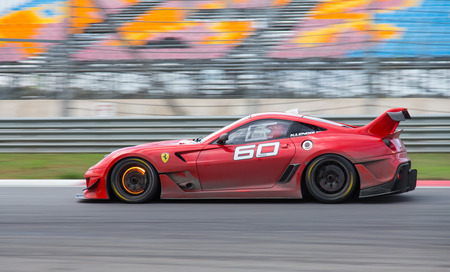 ISTANBUL, TURKEY - OCTOBER 25, 2014: K. Lendoudis drives Ferrari 599XX during XX Programmes of Ferrari Racing Days in Istanbul Park Racing Circuit Editorial