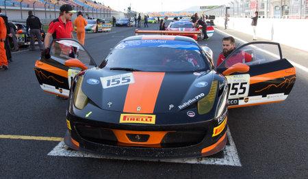 ISTANBUL, TURKEY - OCTOBER 25, 2014: Foitek Racing Team driver Holger Lange in start line during Ferrari Racing Days in Istanbul Park Racing Circuit