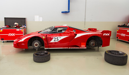 programmes: ISTANBUL, TURKEY - OCTOBER 25, 2014: Ferrari FXX car in XX Programmes garage of Ferrari Racing Days in Istanbul Park Racing Circuit Editorial