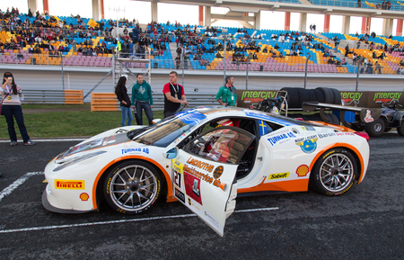 ISTANBUL, TURKEY - OCTOBER 25, 2014: Baron Service Racing Team driver Tommy Lindroth in start line during Ferrari Racing Days in Istanbul Park Racing Circuit Editorial