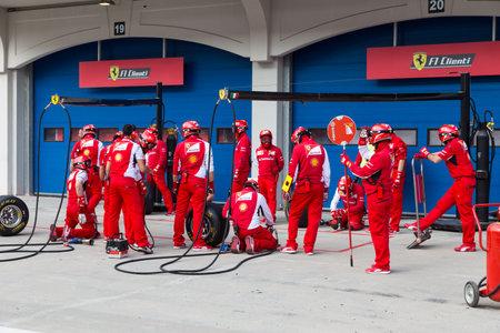 ISTANBUL, TURKEY - OCTOBER 26, 2014: Pit stop of Formula 1 car in Ferrari Racing Days in Istanbul Park Racing Circuit