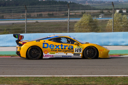 ferrari: ISTANBUL, TURKEY - OCTOBER 26, 2014: Rupert Martin drives Ferrari 458 Challenge EVO of Motor Piacenza Racing Team during Ferrari Racing Days in Istanbul Park Racing Circuit Editorial