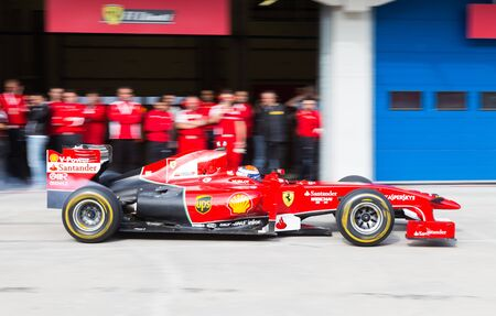pit stop: ISTANBUL, TURKEY - OCTOBER 26, 2014: Pit stop of Formula 1 car in Ferrari Racing Days in Istanbul Park Racing Circuit