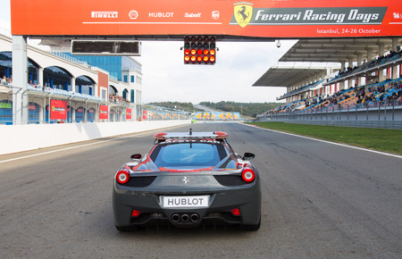 pirelli: ISTANBUL, TURKEY - OCTOBER 26, 2014: Safety car in start of race during Ferrari Racing Days in Istanbul Park Racing Circuit Editorial