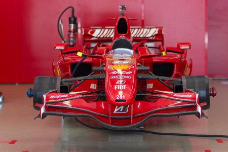 f1: ISTANBUL, TURKEY - OCTOBER 25, 2014: F1 Car in garage of Ferrari Racing Days in Istanbul Park Racing Circuit Editorial